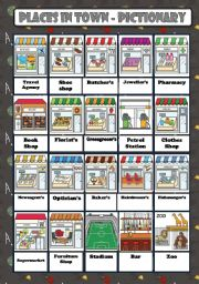 English Worksheet: PLACES IN TOWN - PICTIONARY