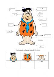 English Worksheets: body parts with fred flinnstones