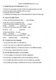 English Worksheet: Test Conditionals (0,1,2,3)