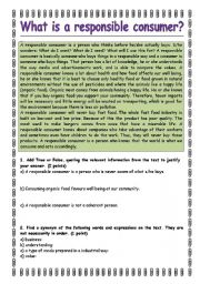 English Worksheets: What is a responsible consumer?