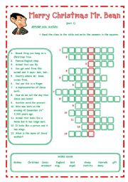 English Worksheet: Merry Christmas Mr. Bean - - - 3 pages - - -