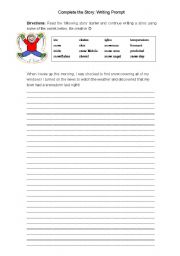 Story Starter: Complete the Story - Snow Day - ESL worksheet by ccsensei