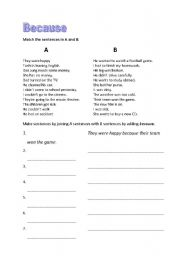 English Worksheets: because