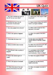 English Worksheet: Quiz - UK Trivia