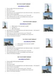 English Worksheet: THE STATUE OF LIBERTY WEBQUEST