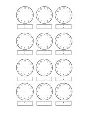 worksheet: Analogue/Digital Time Template