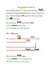 English Worksheets: The grosshopper and ant
