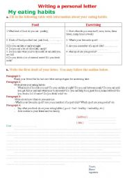 English Worksheet: writing a personal letter my eating habits