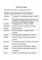 English Worksheets: Describing Change