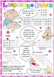 English Worksheets: language games ws