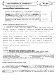 English Worksheets: REMEDIAL WORK  4th  year