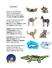 English Worksheet: Animal-poem