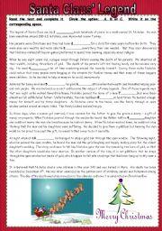 English Worksheet: Santa Claus´ Legend