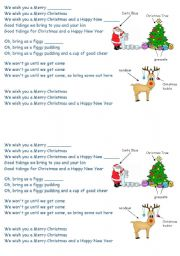 English Worksheet: we wish you a merry christmas song