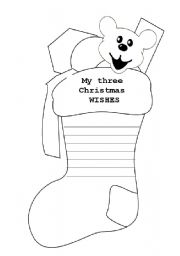 English Worksheet: Christmas Wishes Stocking
