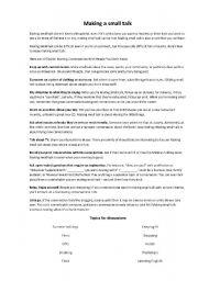 English Worksheets: MAKING A SMALL TALK