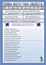 English Worksheet: VERBS WITH TWO OBJECTS