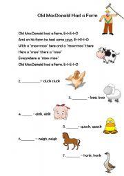 English Worksheets: Old Mc Donald had a farm
