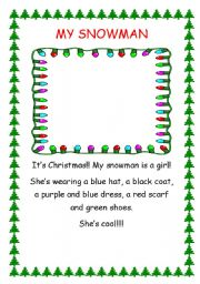 English Worksheet: My snowman is a girl!!