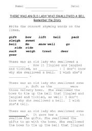 English Worksheet: There Was An Old Lady Who Swallowed a Bell!