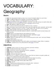 English Worksheet: Vocabulary definitions: Weather and Geography