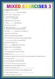 English worksheet: MIXED EXERCISES 3