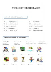 English Worksheets: 6th classes worksheet