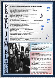 English Worksheets: Pearl Jam Black-Listening activity-Key included!