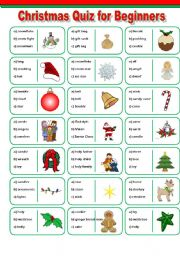 ESL worksheets for beginners: Christmas Vocabulary Quiz