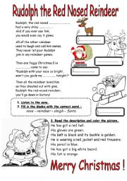 picture relating to Lyrics Rudolph the Red Nosed Reindeer Printable named Rudolph the pink-nosed reindeer worksheets
