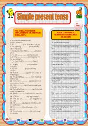 English Worksheet: Simple present tense worksheet with order of questions exercise
