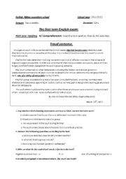 English Worksheet: first term exam (Ethics in business)secondary eduction