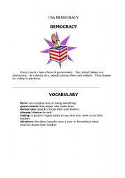 English Worksheet: USA DEMOCRACY