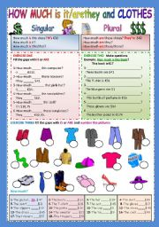 English Worksheet: How much is it/are they and clothes