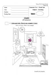 English Worksheet: Listening Test 2 _Semster Exam