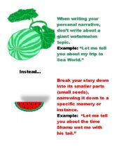 English Worksheets: Small Seed vs. Watermelon
