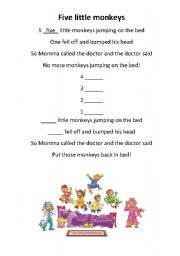 English Worksheets: 5 little monkeys (with visual aids)