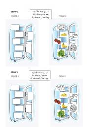 English Worksheet: fridge n�2 group work vocab food + some / any