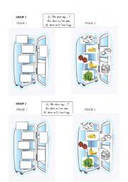 English Worksheet: fridge n°2 group work vocab food + some / any