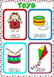 English Worksheets: Toys - flashcards (2)