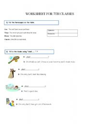 English Worksheets: Worksheet for 7th classes