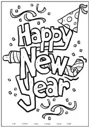 English Worksheet: Happy New Year Colouring Page