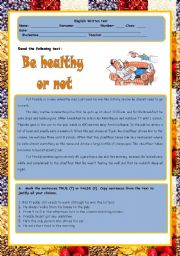 English Worksheets: test - be healthy