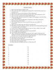 English Worksheets: Holiday Trivia