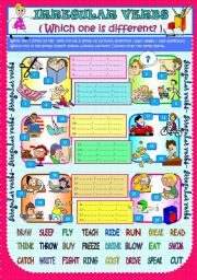 English Worksheets: IRREGULAR VERBS (WHICH ONE IS DIFFERENT?)