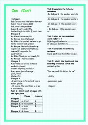 English Worksheets: Can/Can�t :Ability or Inability /Request  or Offering help