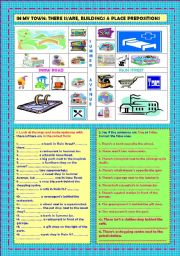 English Worksheet: In my town: there is, are, buildings & place prepositions