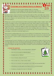 English Worksheet: Christmas in the United States of America