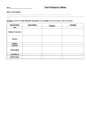 English Worksheets: Text Feature Notes