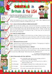 English Worksheet: Christmas in  Britain  and  in  the  USA